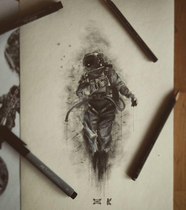 Продолжая делиться.. рисунок, арт, глаза, длиннопост, рисунок карандашом, космос, космонавт, ворон