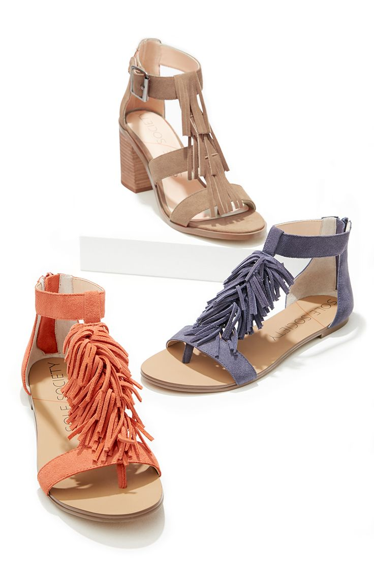 Soft suede fringe sandals by Sole Society