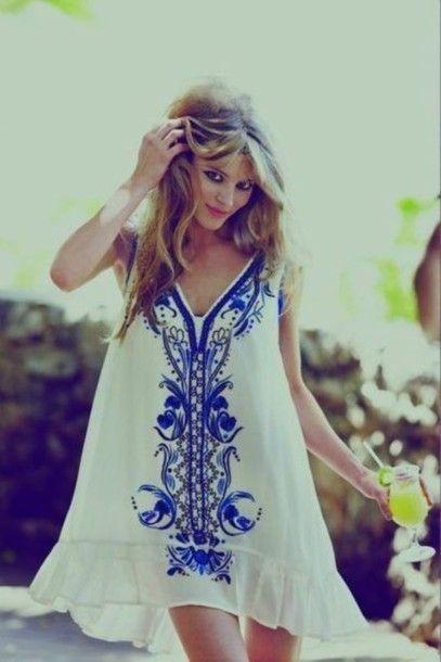 dress beach summer blue white kaftan swing dress floral hippy boho bohemian