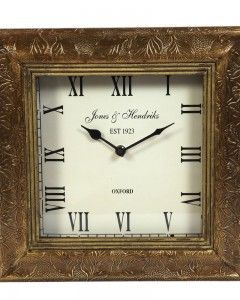 SQUARE SHAPE ANTIQUE BRASS WORK WALL CLOCK