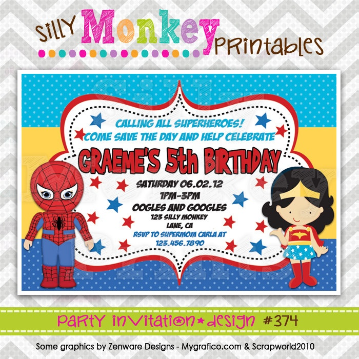 374: DIY - Spiderman and Wonder Woman Party Invitation Or Thank You Card. $12.95, via Etsy.