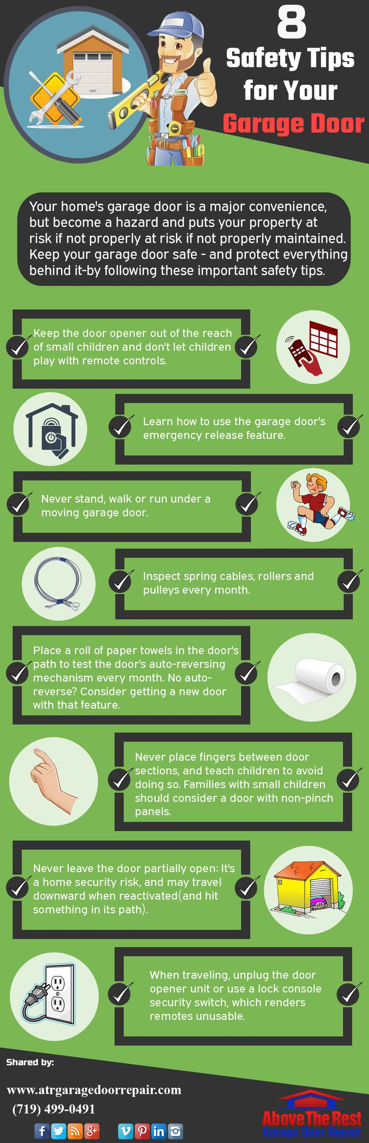 8 Safety Tips for Your Garage Door  Your home's garage door is a major convenience, but become a hazard and puts your property at risk if not properly at risk if not properly maintained.