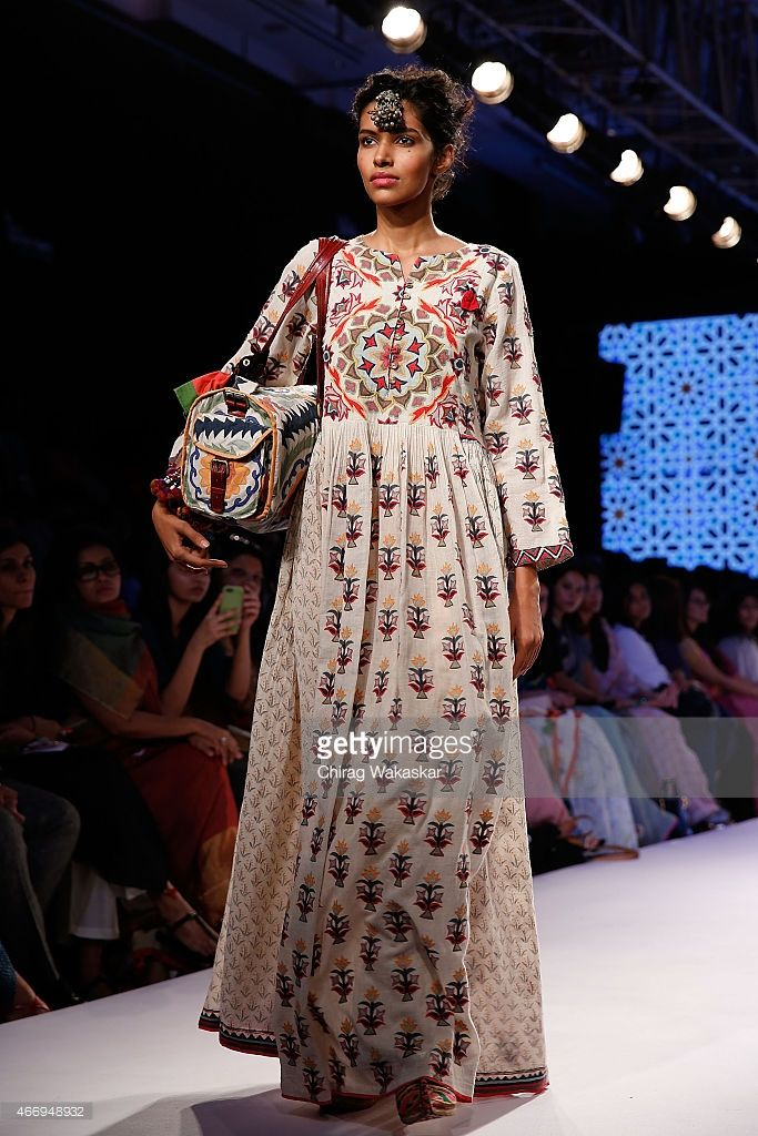 A model walks the runway during the Vrisa by Rahul & Shikha show on day 2 as part of Lakme Fashion Week Summer/Resort 2015 at Palladium Hotel on March 19, 2015 in Mumbai, India.