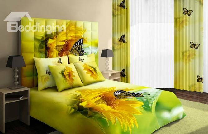 Warm-toned Bright Yellow Sunflower and Butterfly Cotton 4 Piece Bedding Sets