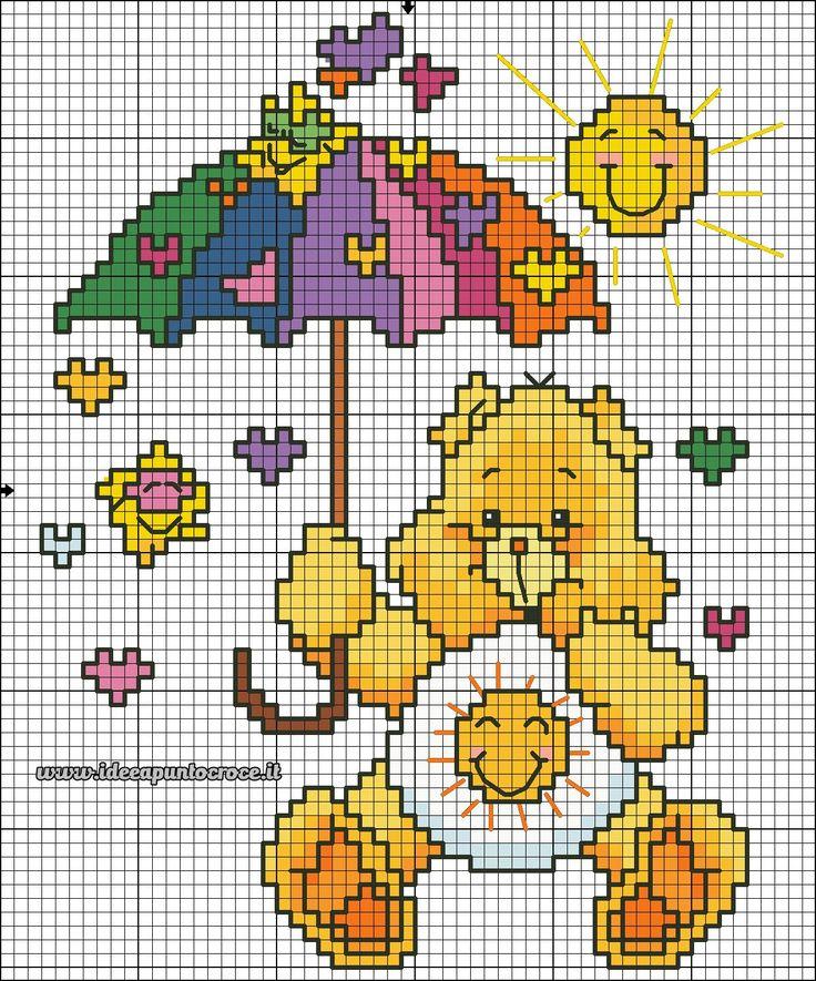 schema orsetto del cuore punto croce