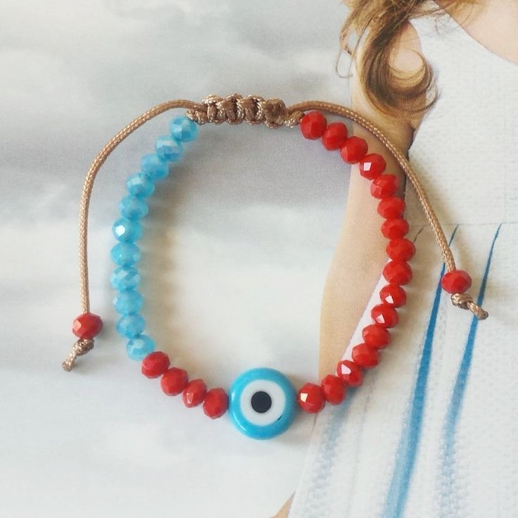 Blue Evil Eye Bracelet with Baby Blue and Red or White Crystals, Kids Bracelet, Lucky bracelet, Adjustable, Worldwide Shipping by GlowHandmade on Etsy