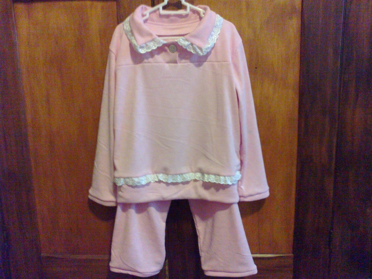 Girl's Winter PJs with lace detail (3-4 yrs) - R170.00