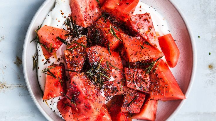 Watermelon with Yogurt, Poppy Seeds, and Fried Rosemary Recipe | Bon Appetit