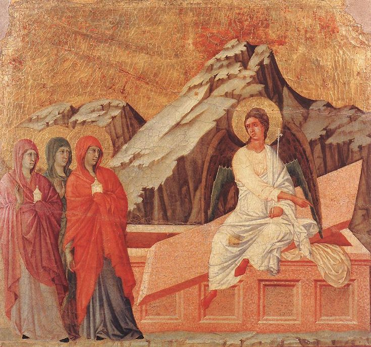 The Three Marys at the Tomb by Duccio, part of the Maestà altarpiece in Siena (Photo Web Gallery of Art)