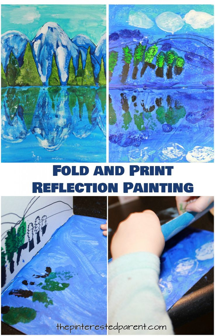 Try This Step By Paint And Fold Print Reflection Landscape A Great Art Project For Kids Or Adults Arts Crafts Cool Paintings