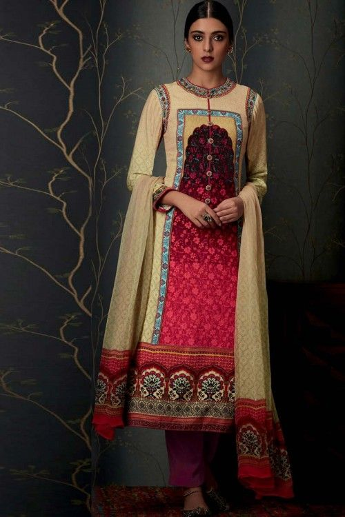 Cream And Maroon Pure Pashmina Trouser Suit With Dupatta  Cream and Maroon printed Pure Pashmina semi stitch trouser suit.Round neck, Below knee length, full sleeves kameez. Purple pure pashmina trouser. Cream chiffon dupatta. Product are available in 34,36,38,40 sizes. It is perfect for Festival Wear.   http://www.andaazfashion.co.uk/salwar-kameez/trouser-suits