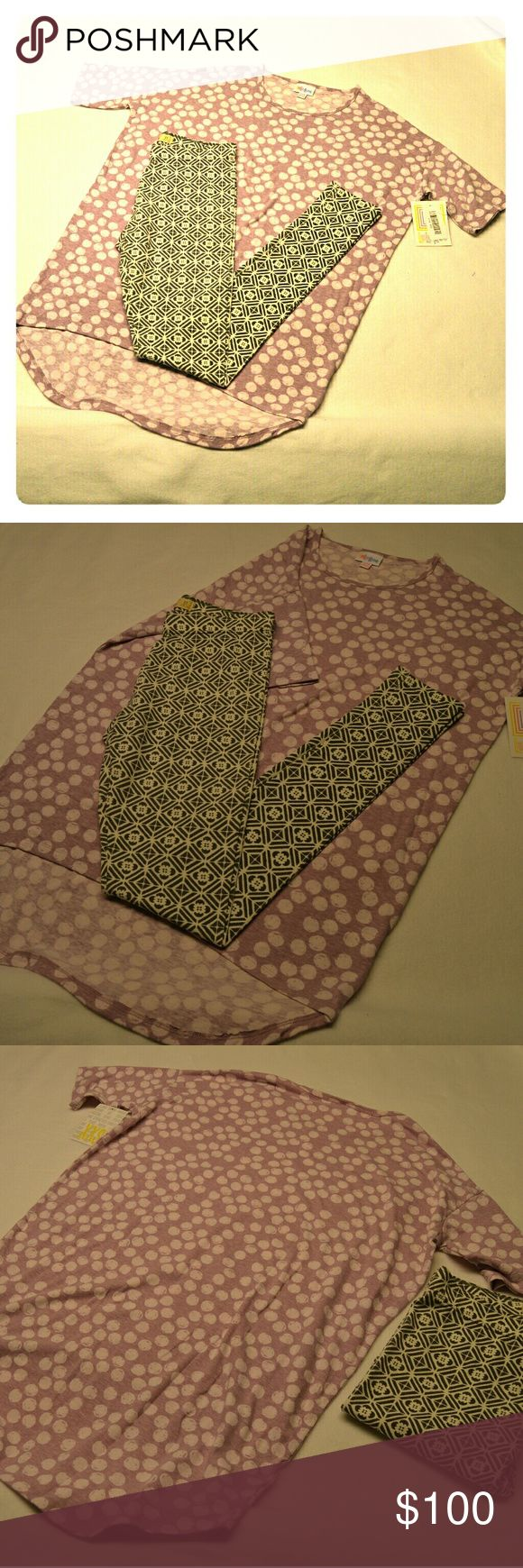 Lularoe Irma NWT + Hollister Leggings NWT Brand new with tag light purple and polka dot Irma and NWT XS Hollister grey ans white leggings. Brand new, come in plastic LulaRoe bag with tag. Price firm, Poshmark takes 20% in fees. *ship same/next day *no holds/trades *pet free *smoke free home Lularoe Tops Tees - Long Sleeve