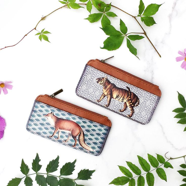 Fox and tiger vegan leather cardholders by Mlavi Studio. Wholesale available at http://mlavi.com/mlavi-animal-themed-vegan-bag-wallet-and-accessories-wholesale.html #animal #vegan #wholesale #fashion #accessories #gift