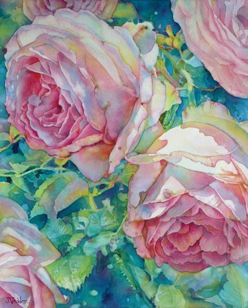 Cabbage Roses by Jeannie Vodden (watercolor) - beautiful use of color