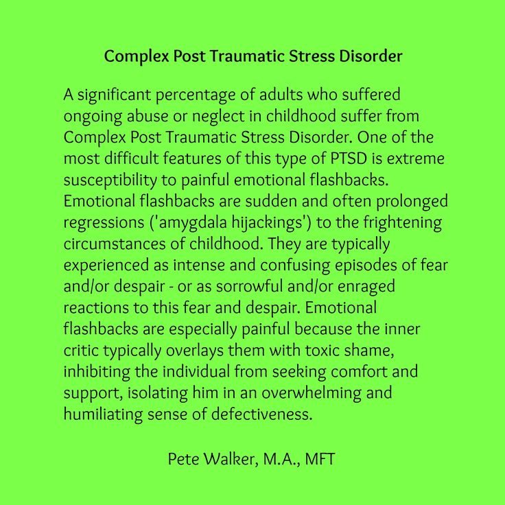 Read Flashbask Management in Treatment of Complex PTSD by Pete Walker, M.A., MFT at http://www.pete-walker.com/flashbackManagement.htm