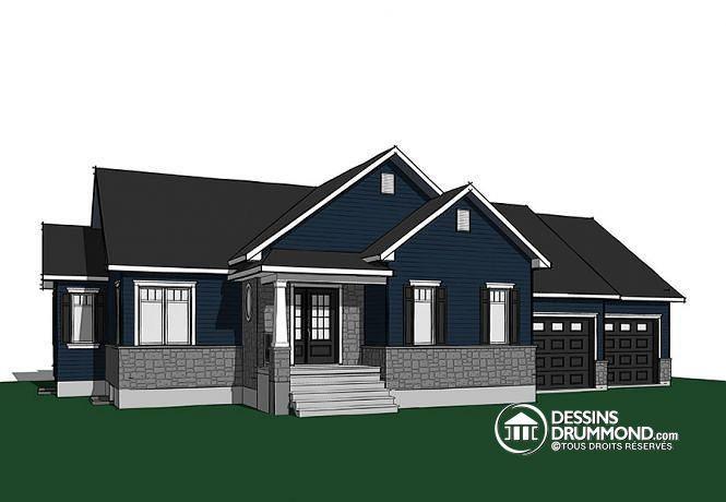 Plan de maison craftsman avec plancher à aire ouverte et garage double, buanderie au rez-de-chaussée  Découvrez une version construite de ce modèle ici : http://www.dessinsdrummond.com/detail-plan-de-maison/info/alice-3-artisanal-craftsman-northwest-1003193.html