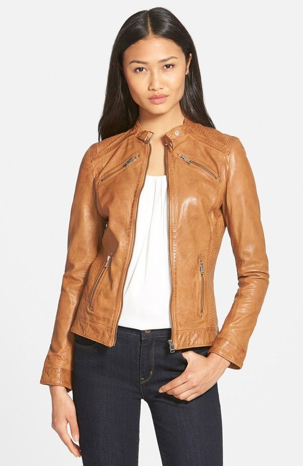 Stitch Detail Lambskin Leather Jacket (Online Only) love this but in black!!