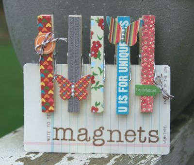 Clothespin magnets. Love the butterflies, button and jewellery tag! Would make cute gifts or stocking stuffers.
