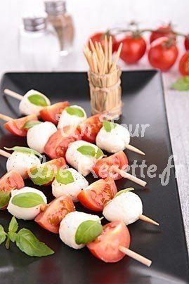 Photo de la recette Brochettes tomates mozzarella