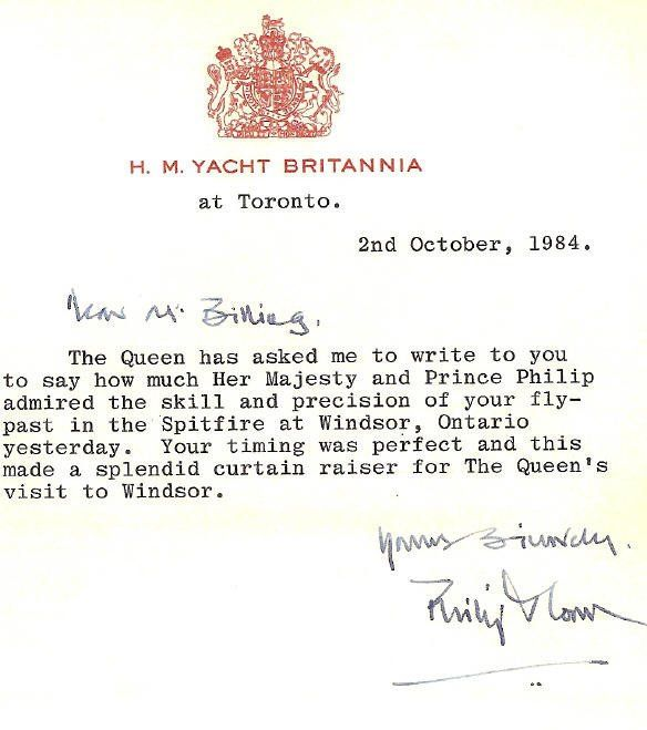 "SX Memorial Spitfire on Twitter: ""Here's a note from Queen Elizabeth to Jerry Billing after her visit to Windsor ON from Oct 1984. https://t.co/ipONWOVIxI"""