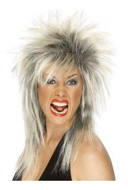 Blonde and Black Mullet Rock Diva Wig