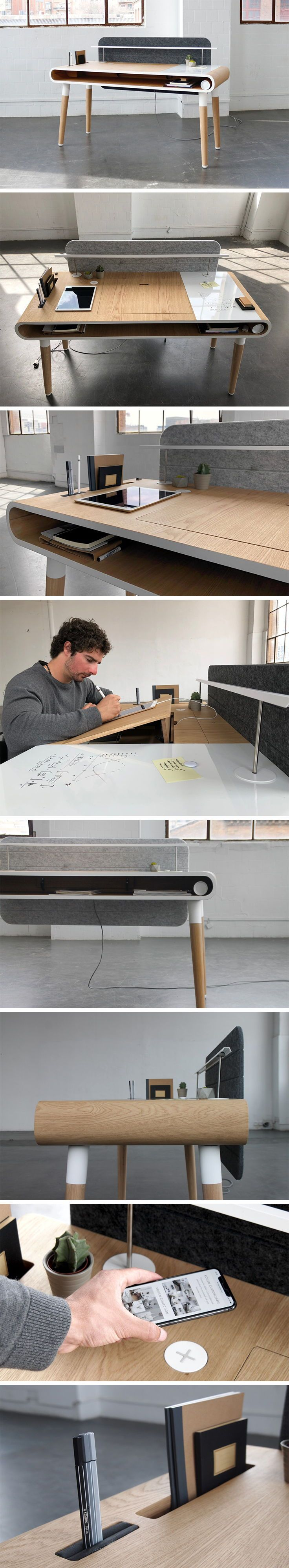 The Köllen E desk designed by Paula Terra Bosch encourages interaction from the user and allows them to configure a workspace that creates a