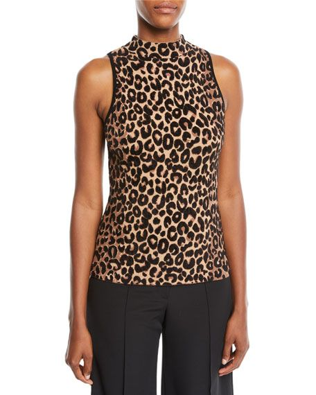 55df0a5ce3 Mock-Neck Sleeveless Cheetah-Textured Shell by Milly at Neiman Marcus