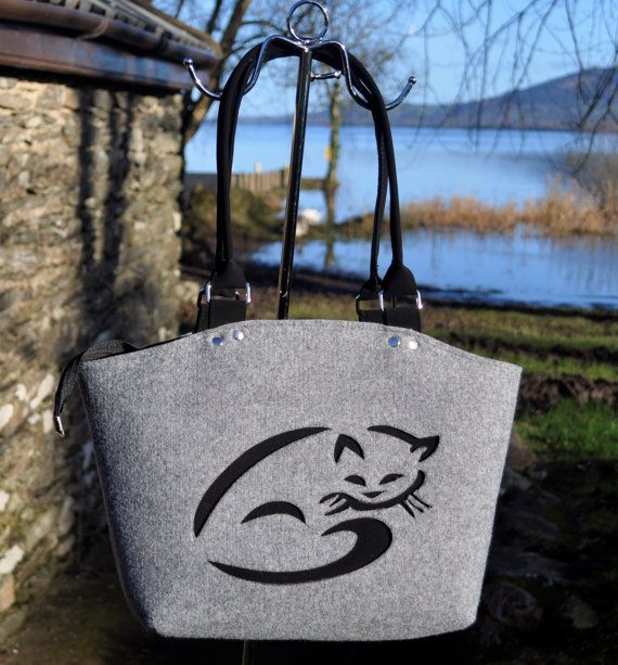 Women felt bag Cat bag Felt TOTE bag FELT HANDBAG by CelticSecrets