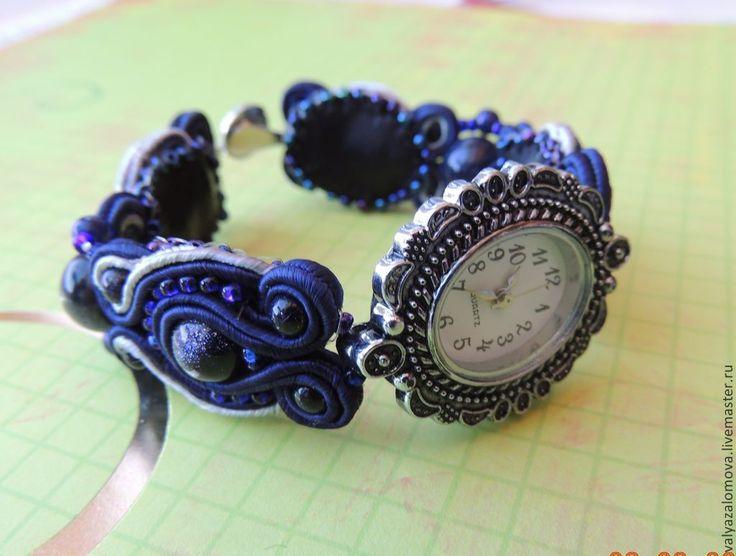 Сутажный браслет с часами - темно-синий,сутаж,сутажная техника,сутажные украшения