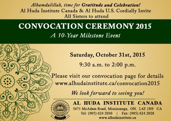 Convocation Ceremony - A 10-Year Milestone Event | 31 Oct, 2015  Mark your Calendars! :)