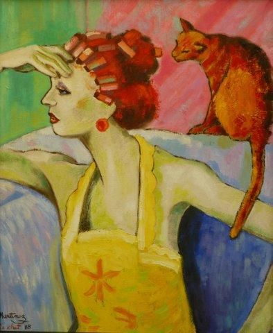 Aux enchères chez Pousse-Cornet à Orléans le 20 septembre 2014 Loppo MARTINEZ (1952) : Madame et le chat. Huile sur toile. Signé en bas à gauche. 60x50cm Estimé 300 - 500 euros