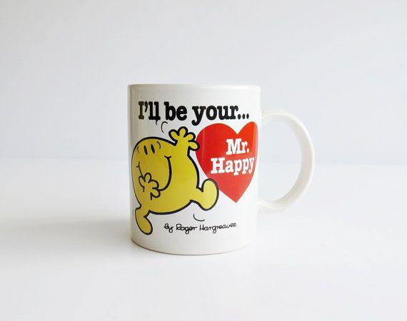 I'll be your Mr Happy - Mr Men & Little Miss Mug - Valentine's Gift - Valentine's Mug - Vintage Mr Men - 1997 Mr Men Mug