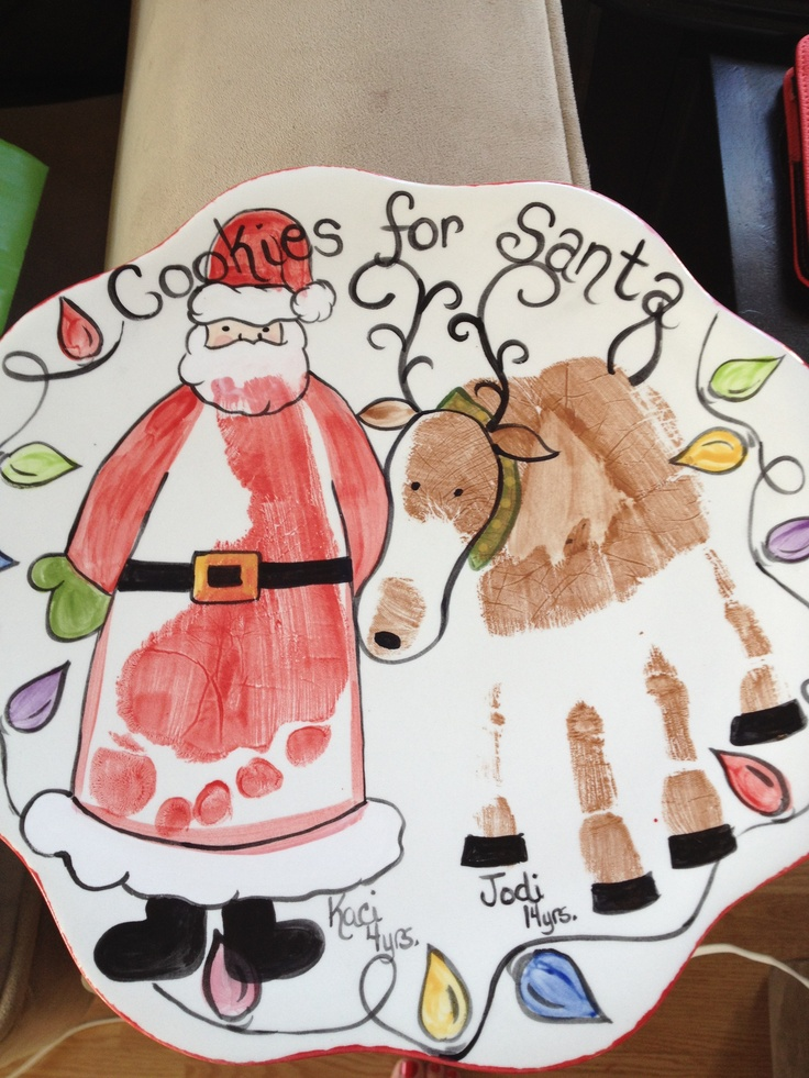Santa cookie plate Pottery idea using hands