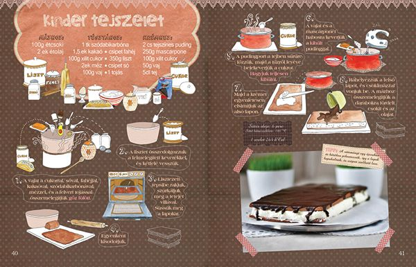 Dalocska's bakery – Illustrated recipe book on Behance Kinder milk-slice #recipe #illustrated #illustration #milchschnitte