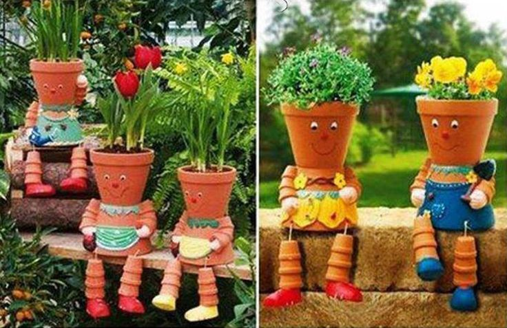 Diy clay pot flower people gardens ideas pinterest for Garden design ideas with pots