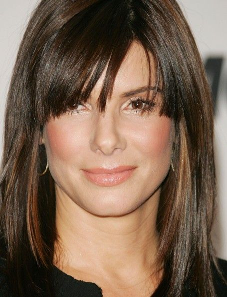 More Pics of Sandra Bullock Medium Straight Cut with Bangs (6 of 18) - Medium Straight Cut with Bangs Lookbook - StyleBistro