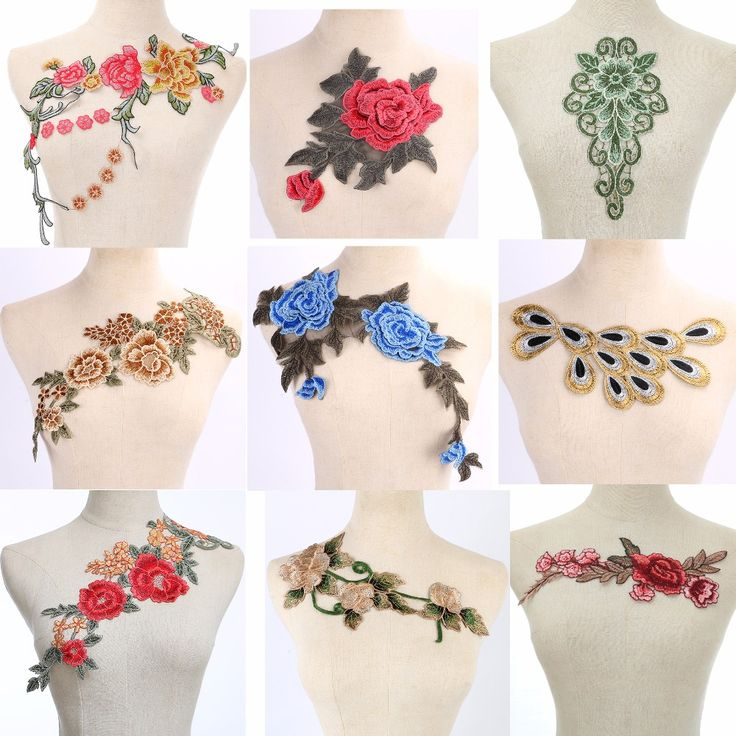 Craft collar Venise Sequin Floral Embroidered Applique Trim Decorated Lace Neckline Collar Sewing Free Shipping-in Lace from Home & Garden on Aliexpress.com | Alibaba Group
