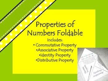 Properties on numbers foldable: Commutative, Associative, Identity, and Distributive Property.