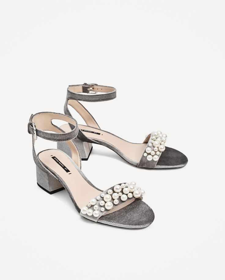 VELVET HIGH HEEL SANDALS WITH PEARL APPLIQUÉ-NEW IN-WOMAN | ZARA United States