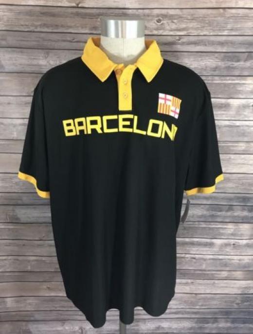 Fifth Sun New Mens Soccer Jersey Polo Shirt Sz Xl Barcelona Short Sleeve Futbol Shirts & Tops Black