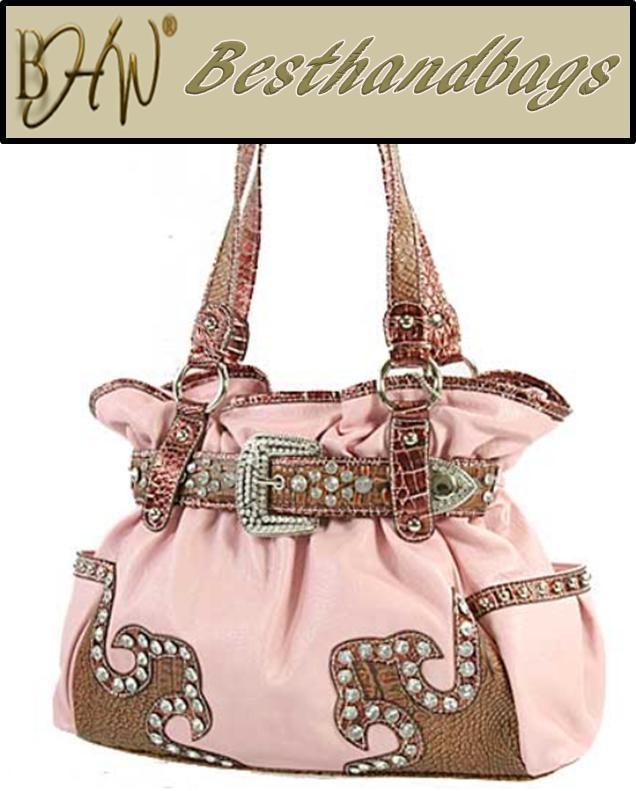 SILVERAKE - Western RHINESTONE Fringe Handbag - Belt Buckle Bling Purse - Pink