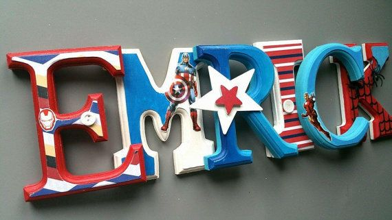Custom boys theme Avengers wooden letters. 15 cm by MissiCreation