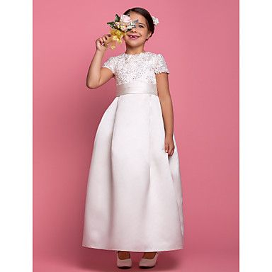 Lanting Bride A-line Ankle-length Flower Girl Dress - Satin Short Sleeve Jewel with Beading / Draping / Lace / Sash / Ribbon – USD $ 89.99