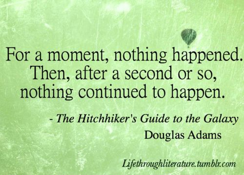 """For a moment, nothing happened. Then, after a second or so, nothing continued to happen."" - Douglas Adams"