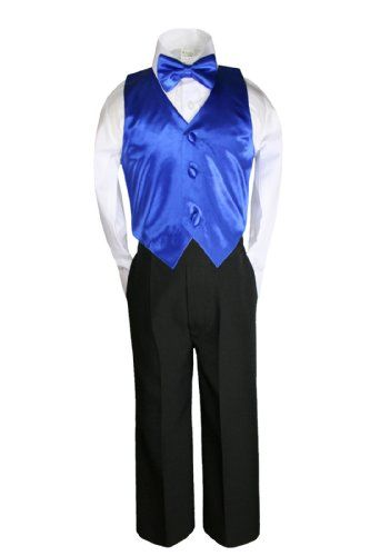 4cd3a48869be6 Unotux 4 Piece Formal Boy Royal Blue Bow Tie Vest Set Suit 0 month to 7  years