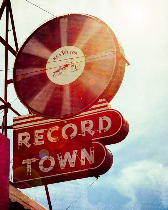 Record Store. Vintage Sign. Record Town Fort Worth Texas by Squint Photography vinyl records / neon signs
