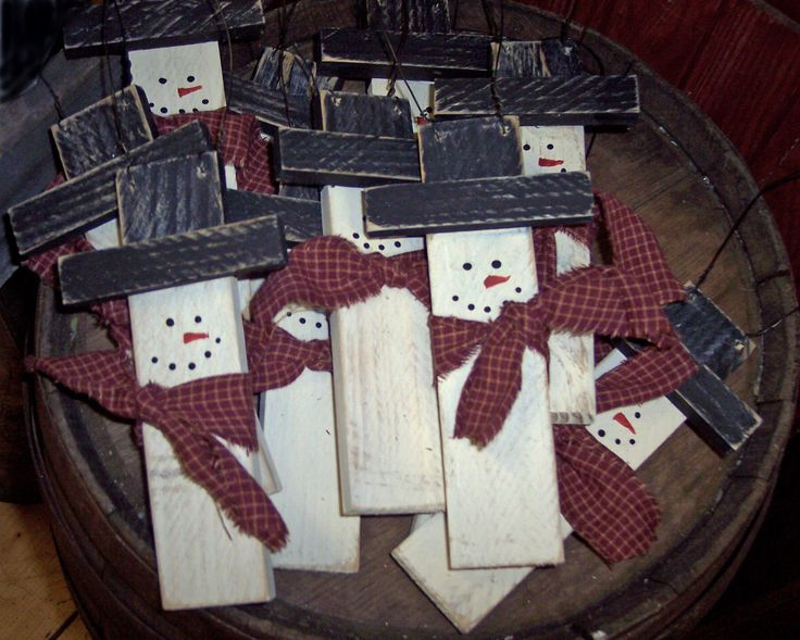 Wood Snowman Ornament: these would be cute made from large paint sticks, cut to size.