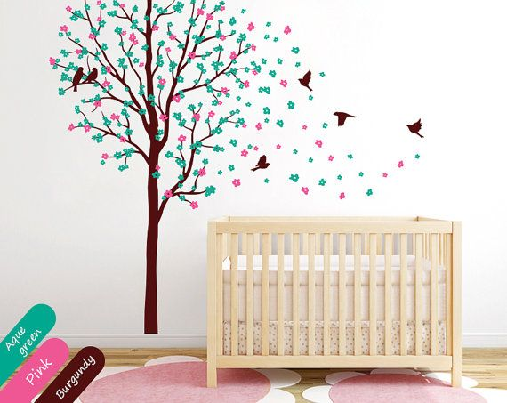 Baby nursery tree wall decal wall mural by for Baby nursery tree mural