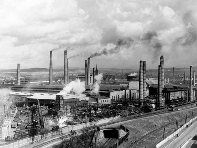Aug. 29, 1938 file photo, smoke rises from smokestacks at Skoda's main foundry in Pilsen, Czechoslovakia.