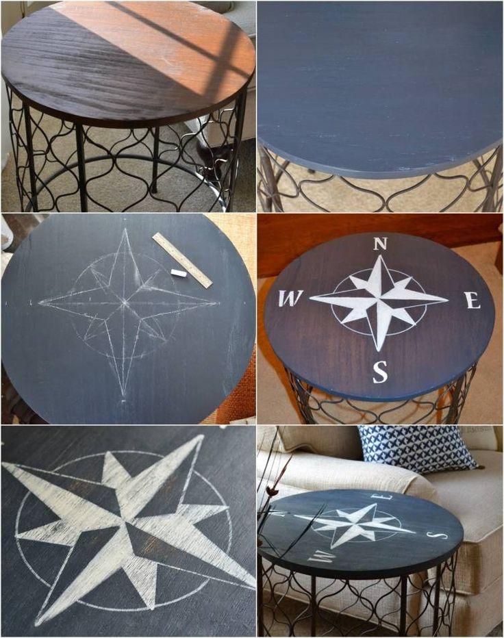 tuto facile à réaliser - une table d'appoint ronde décorée d'une boussole